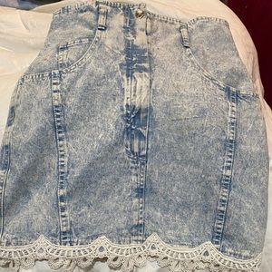 Acid wash 1980 jean skirt